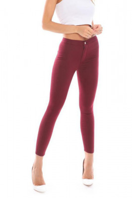 Pantaloni elastici talie medie Tina bordo