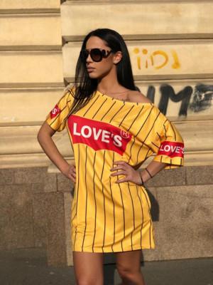 Rochie casuala de zi Loves galbena cu imprimeu trendy