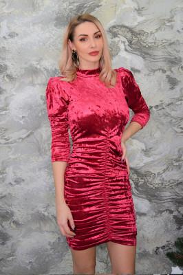 Rochie eleganta Dolce, umeri bufanti, rosie