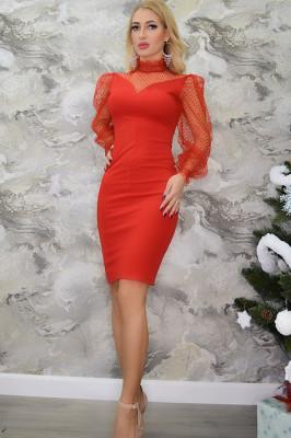 Rochie eleganta Glamy, cu maneci transparente, rosie