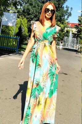 Rochie lunga de vara, cordon in talie imprimeu floral verde, galben
