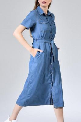 Rochie lunga Zolia din denim cu cordon in talie, albastru