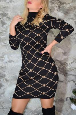 Rochie pulover neagra cu model crem