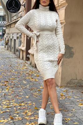Rochie tricotata Sara, cu guler si maneci lungi, crem