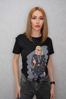 Tricou dama casual negru cu imprimeu fata