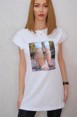 Tricou dama lung alb cu imprimeu sandale