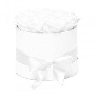 Aranjament floral Trandafiri parfumati de sapun, in cutie alba Luxury M