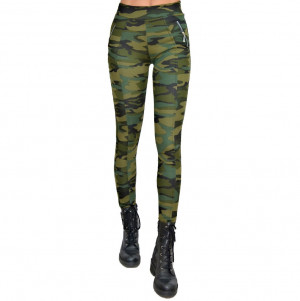 Colanti Army kaki, croiala skinny, imprimeu de camuflaj