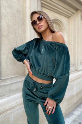 Compleu catifea Anna pantaloni si bluza asimetrica, Smarald, Marime universala S/M