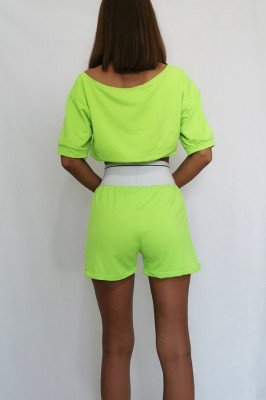 Compleu doua piese top si pantaloni scurti Bbs Verde