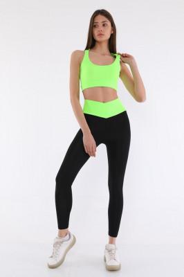 Compleu Fitness Valeria colanti si bustiera negru-verde