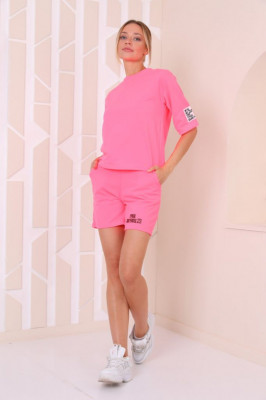 Compleu Mirra tricou si pantaloni scurti roz