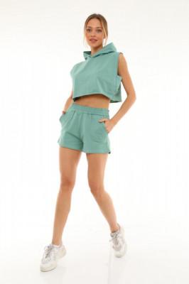 Compleu sport June tricou si pantaloni scurti verde