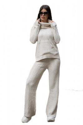 Compleu tricotat Ribelle doua piese, alb