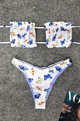 Costum de baie doua piese Butterflies Blue cu slip in doua nuante