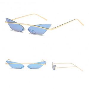 Ochelari de soare, femei, model Cat Eye blue, rama aurie