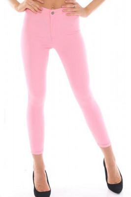 Pantaloni elastici talie medie Tina roz