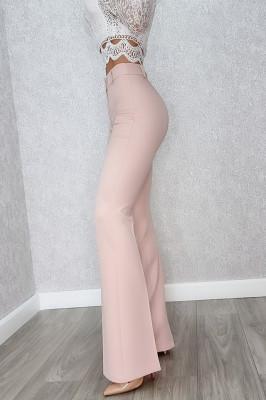 Pantaloni evazati cu dunga Melea roz pudrat