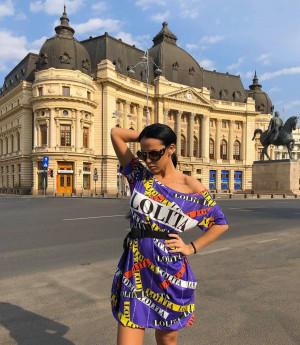 Rochie casuala de zi Lolita mov cu imprimeu trendy