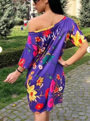 Rochie casuala de zi Vogue mov cu imprimeu floral
