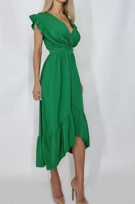 Rochie midi cu cordon in talie Bianca verde