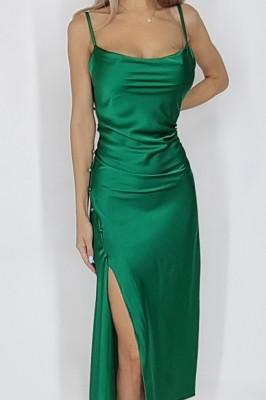 Rochie Noemi din satin despicata verde