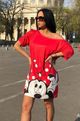 Rochie tricou lung Minnie rosu