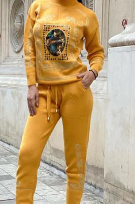 Trening tricotat cu model deosebit Saint Louis, galben