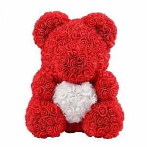 Ursulet Floral din Trandafiri de spuma cu inima, in cutie cu funda, 70 cm