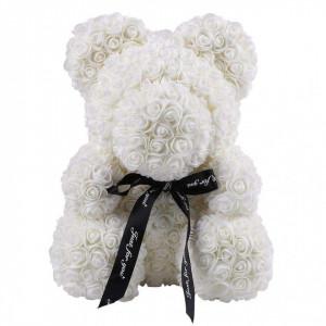Ursulet Teddy Alb din Trandafiri de spuma in cutie cadou cu funda, 70 cm