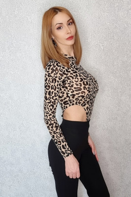 Body animal print Naomi cu maneca lunga
