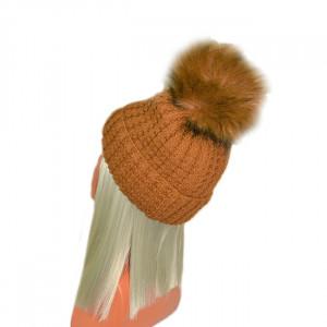 Caciula tricotata cu captuseala, bej