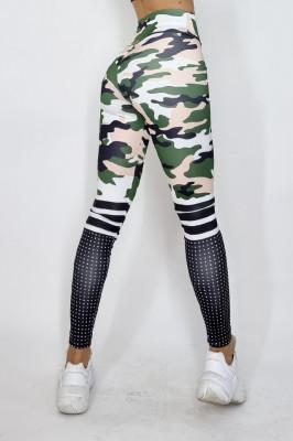 Colanti fitness Star cu imprimeu abstract, army