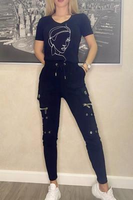 Compleu Charming pantaloni si tricou negru