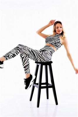 Compleu Fitness Ashley din doua piese Zebra