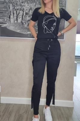 Compleu Rachel pantaloni si tricou negru