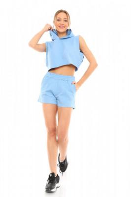 Compleu sport June tricou si pantaloni scurti bleu