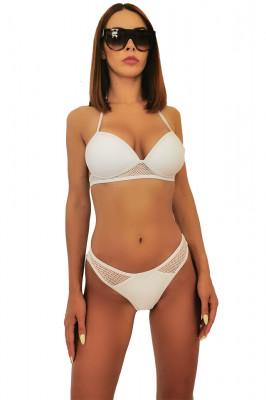 Costum de baie doua piese Maxis alb cu plasa