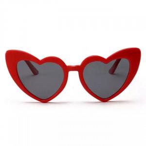 Ochelari de soare Retro Heart cu rama rosie