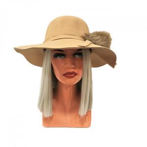 Palarie dama Vintage cu ciucure din blana ecologica, crem