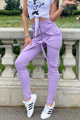 Pantaloni dama lila cu fermoar si bretele