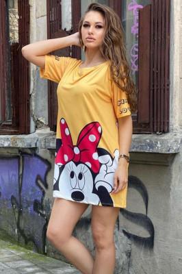 Rochie tricou lung Minnie galben