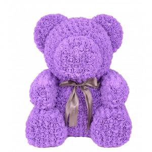Ursulet floral 70 cm decorat manual cu trandafiri spuma, cutie cadou
