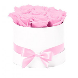 Aranjament floral Trandafiri parfumati de sapun, in cutie alba Luxury S