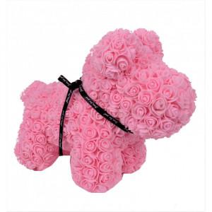 Catelus floral 40 cm decorat manual cu trandafiri spuma, in cutie cu funda