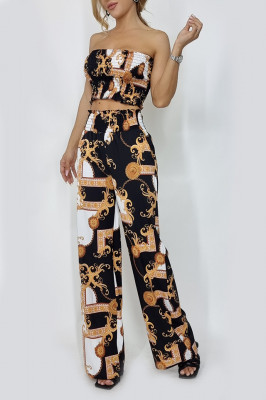 Compleu dama top si pantaloni largi Nevara Luxe