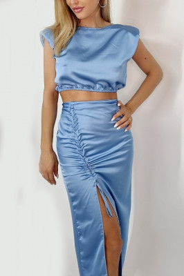Compleu Kate fusta si top satin bleu