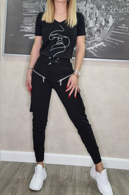 Compleu sport Fancy pantaloni si tricou negru
