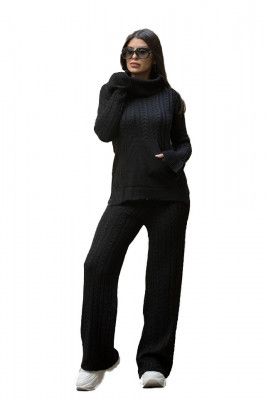Compleu tricotat Ribelle doua piese, negru