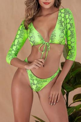 Costum de baie doua piese Milana green snake